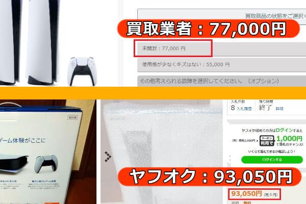 PS5をヤフオクで出品した場合と買取業者に売った場合の比較