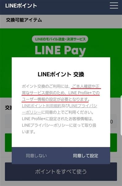 LINEPayの同意して設定をタップ