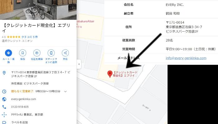 現金化業者エブリィの住所をGoogleMapで調査
